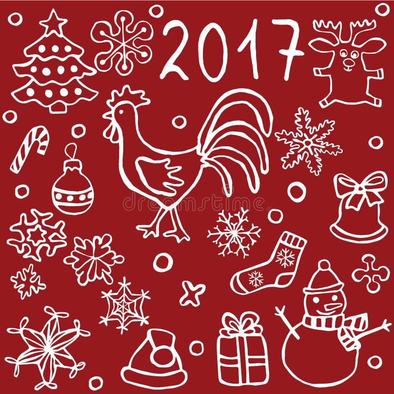 set boże narodzenia i nowego roku doodle ikony royalty ilustracja