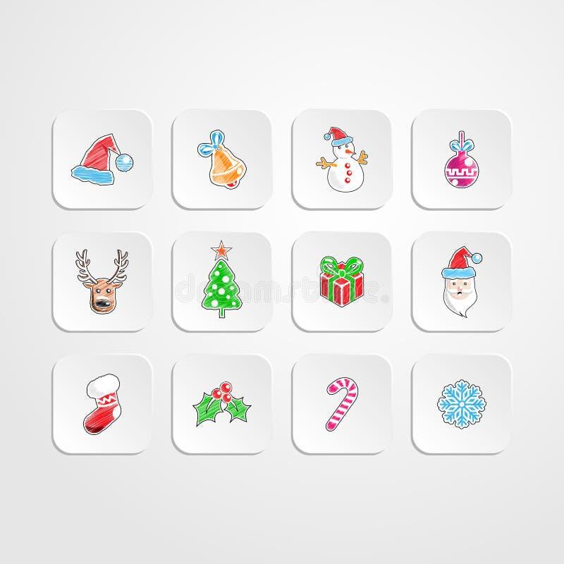 Set boże narodzenia/nowy rok ikona Koloru ołówkowego rysunku styl ilustracja wektor