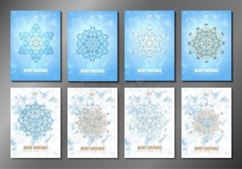 Set Bożenarodzeniowe broszurki karty nowego roku eps10 kwiatów pomarańcze wzoru stebnowania rac ric zaszywanie paskował podstrzyż ilustracja wektor
