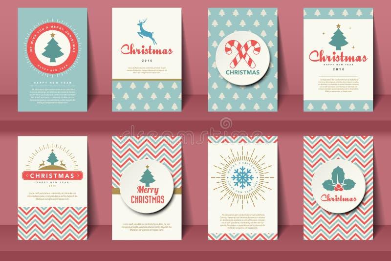 Set Bożenarodzeniowe broszurki w rocznika stylu ilustracja wektor