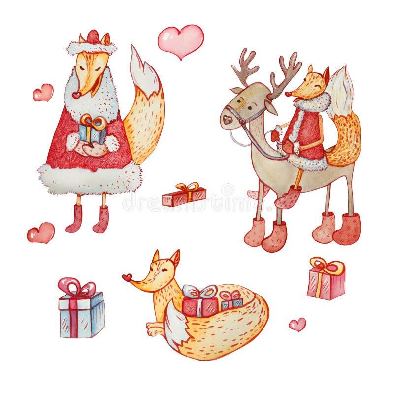 Set Bożenarodzeniowi charaktery: lis i rogacze ilustracja wektor