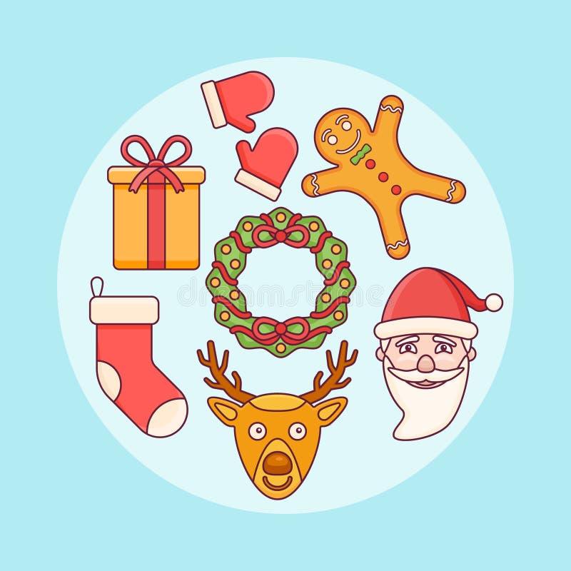 Set Bożenarodzeniowi Elementy Święty Mikołaj, prezenta pudełko, wianek, skarpeta, rogacz Mieszkanie kreskowe ikony royalty ilustracja