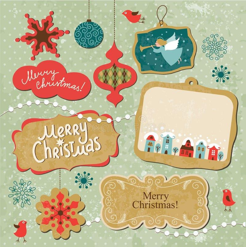 Set Bożych Narodzeń i Nowego Roku elementy ilustracja wektor