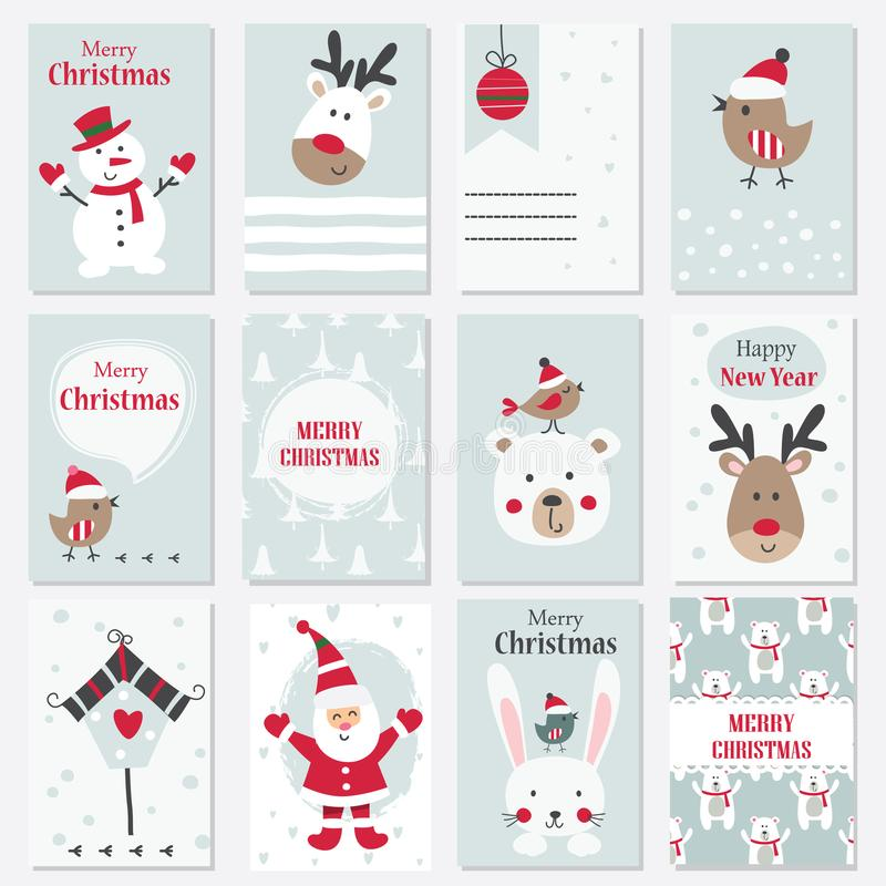 Set bożych narodzeń i nowego roku karty royalty ilustracja