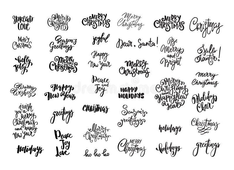 Set bożych narodzeń i nowego roku projekt literowanie Ręcznie pisany XMAS życzenia Ręka rysujący znaki dla kartka z pozdrowieniam ilustracja wektor