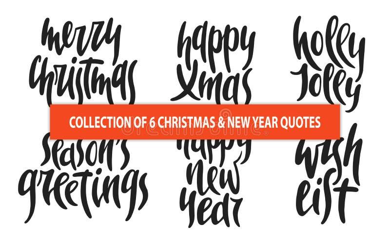 Set 6 bożych narodzeń i nowego roku wektorowa ręka rysujących unikalnych typografii projektuje elementy dla plakatów, kartka z po ilustracja wektor