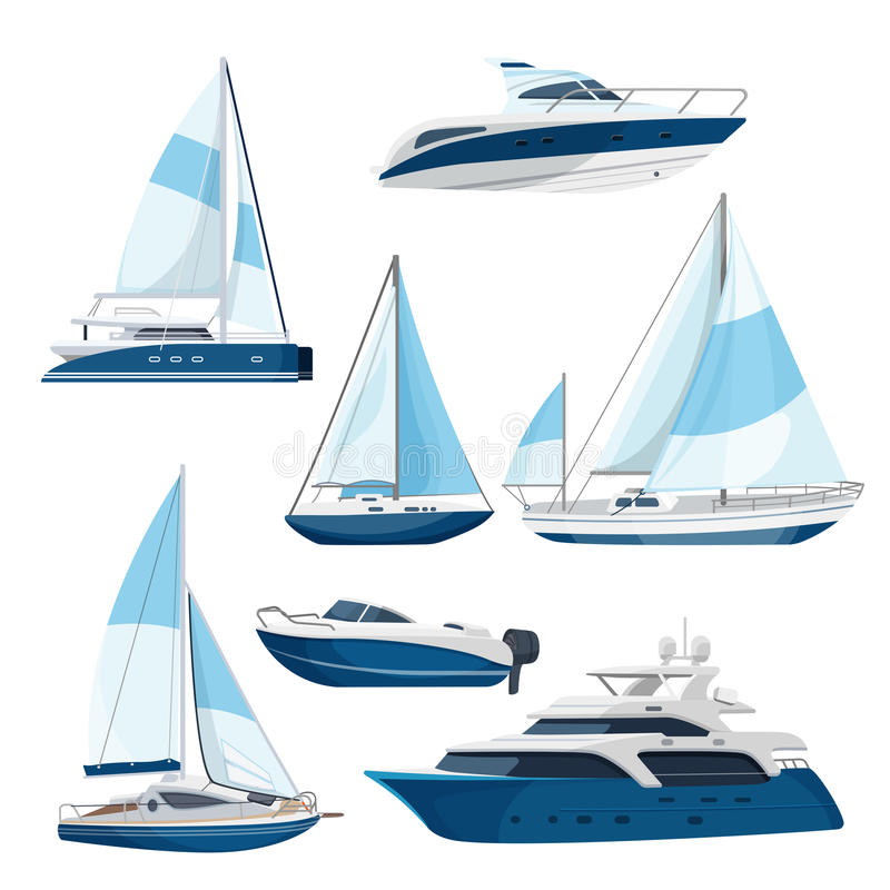 Set of boats with sails, one and double decked yachts royalty free illustration