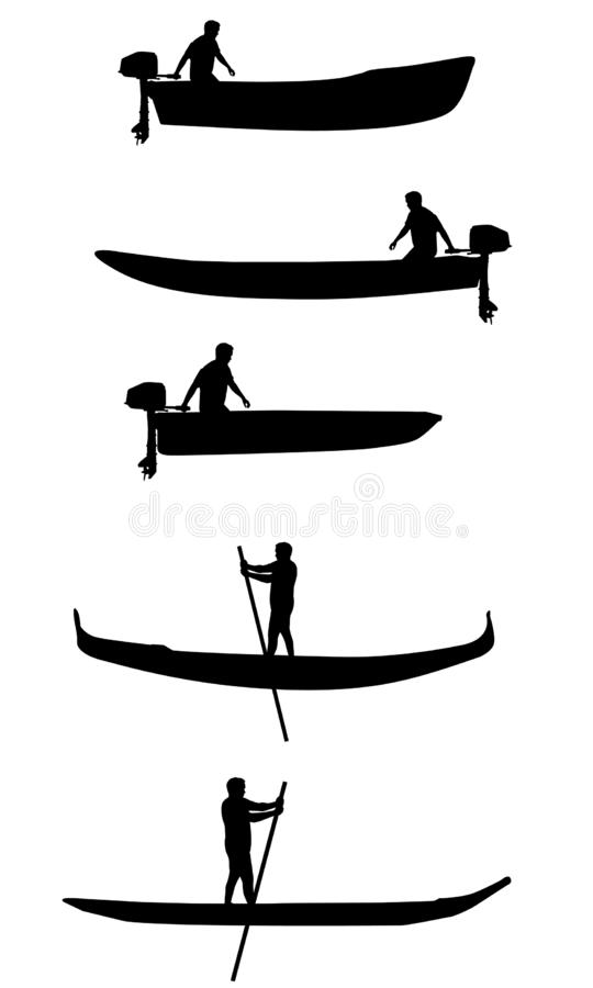 Set of boats vector silhouettes stock photography