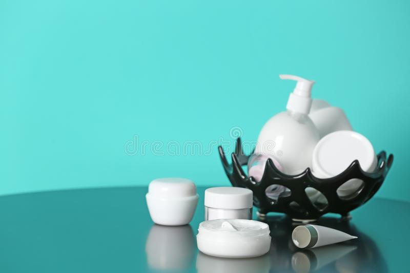 Set of body care cosmetics. On table stock photo