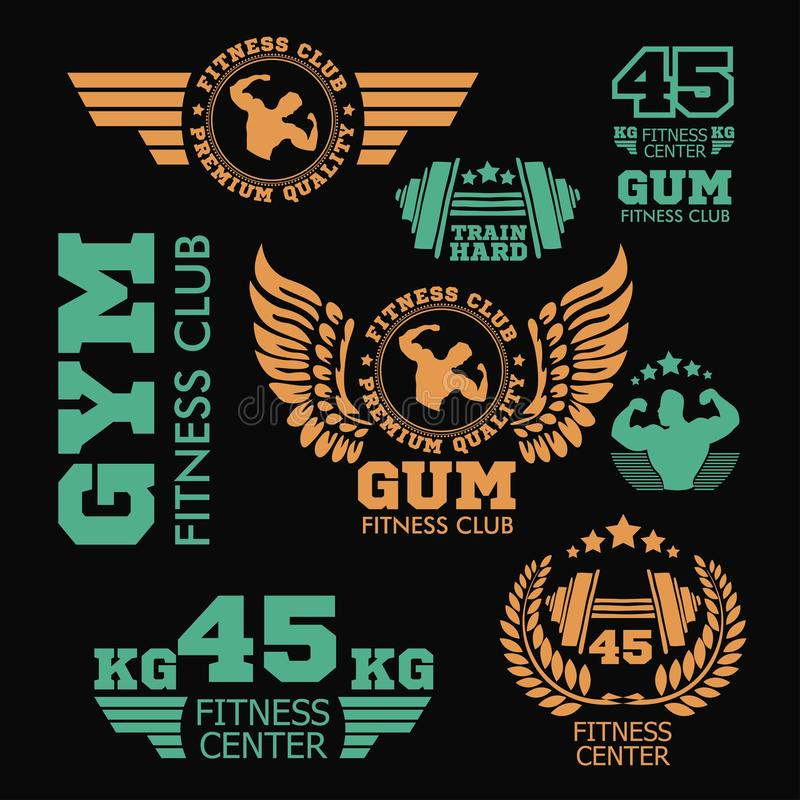 Set bodybuilding badges, stickers isolated on black. vector illustration