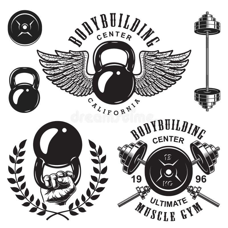 Set bodybuilding emblematy ilustracja wektor