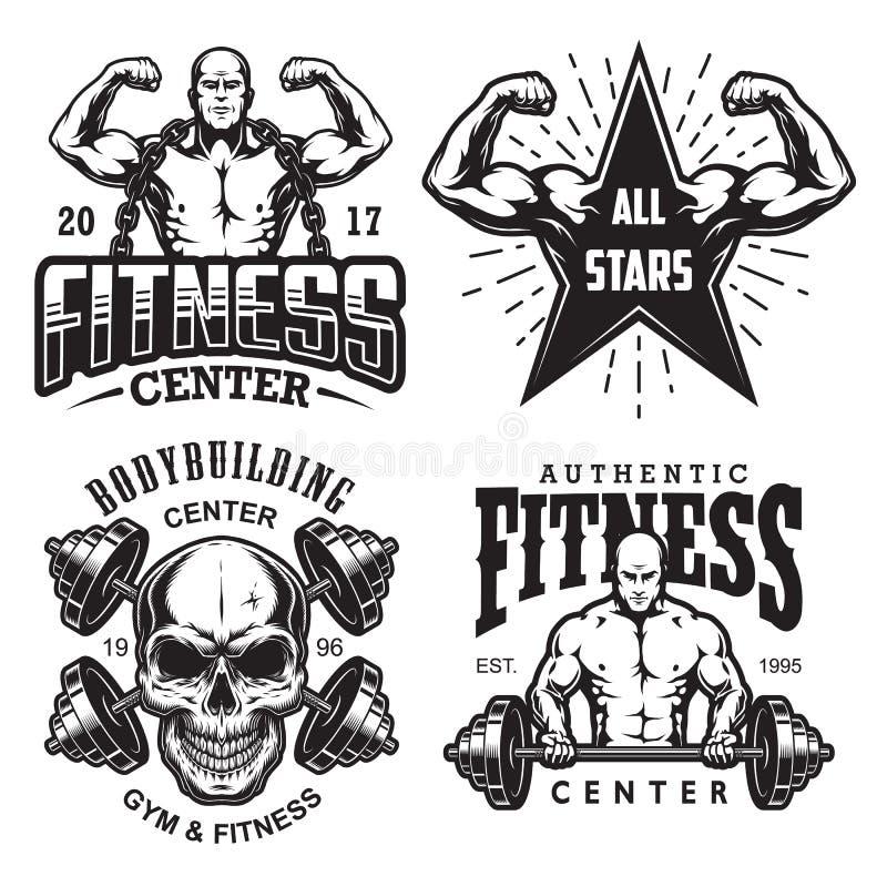 Set bodybuilding emblematy royalty ilustracja