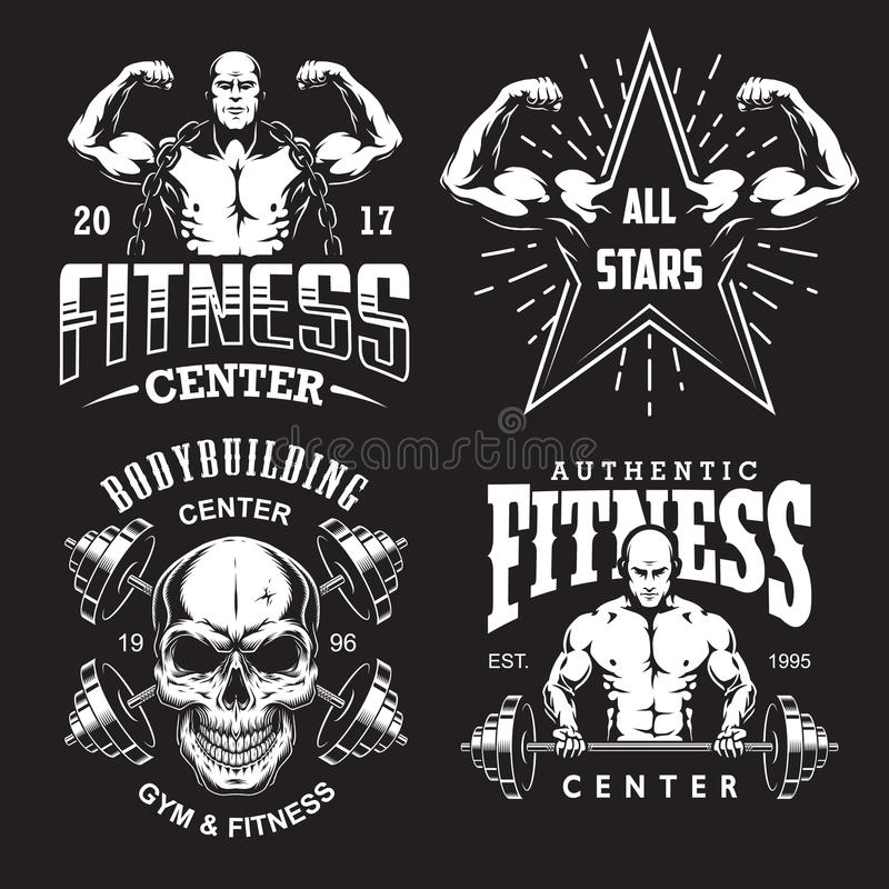 Set of bodybuilding emblems stock illustration