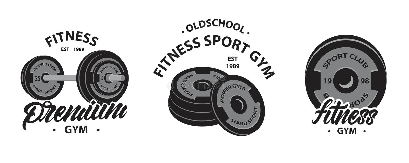 Set bodybuilding, sprawność fizyczna emblematy lub logo z Weightlifting barbell, sportów dyski dla dumbbell premia si?ownia wekto ilustracji