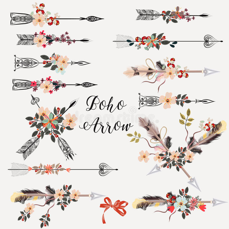 Set of boho arrows with hand drawn flowers stock illustration