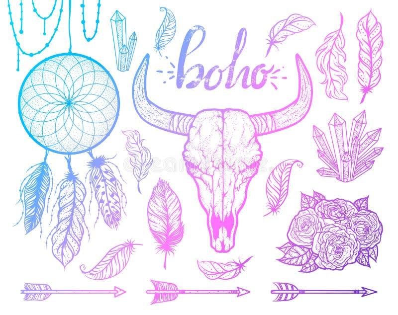 Set boho elementy Byk czaszki rodowitych amerykan plemienny styl Tatuażu blackwork Wektorowa ręka rysująca ilustracja ilustracji