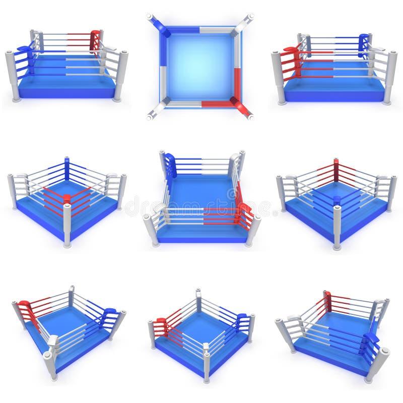 Set bokserski pierścionek. Wysoka rozdzielczość 3d odpłacają się. ilustracji