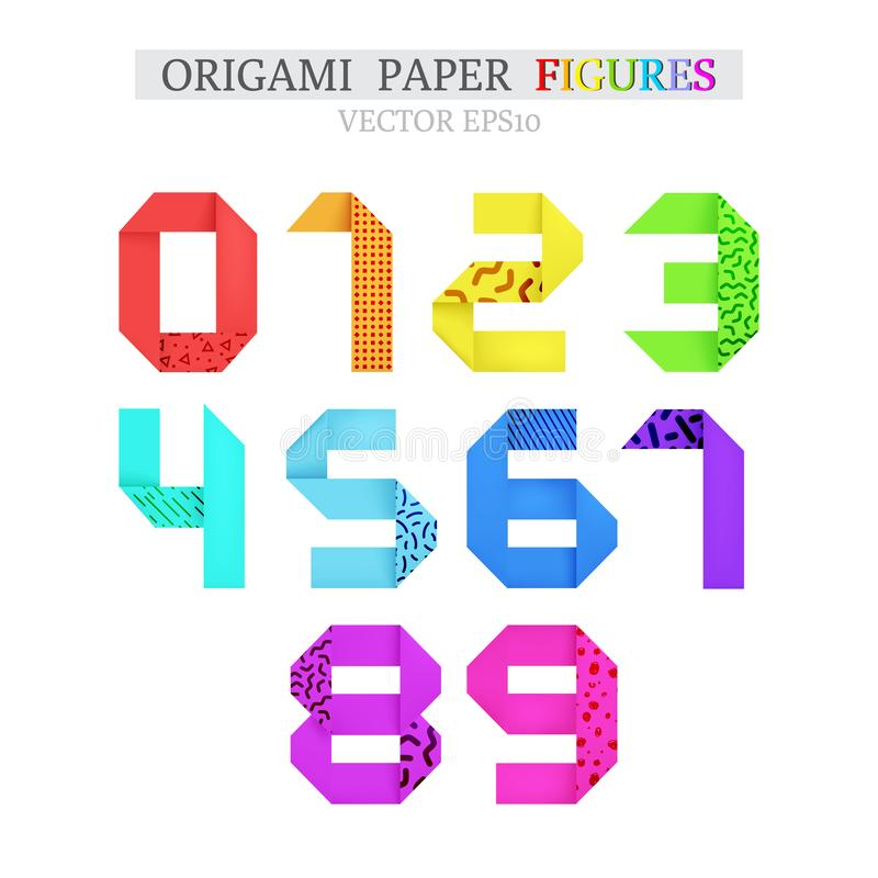 Set of bold colorful origami paper figures stock photos