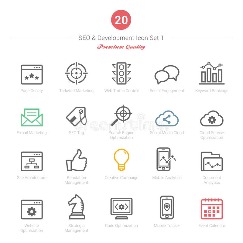 Set of Bold Stroke SEO and Development icons Set 1 vector illustration