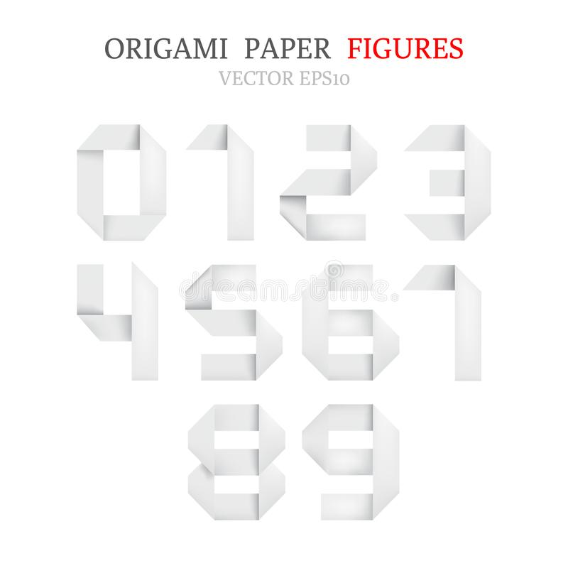 Set of bold white origami paper figures royalty free stock images