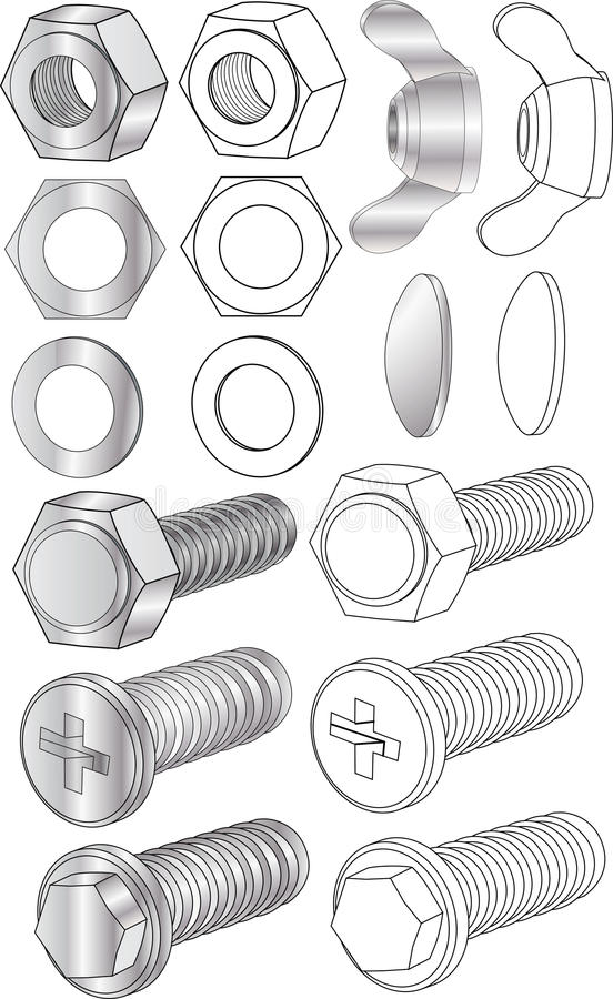 Set of bolts and nuts. Metal royalty free illustration