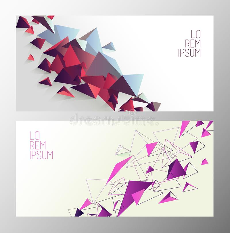 Set of book cover templates with polygonal shapes. stock illustration