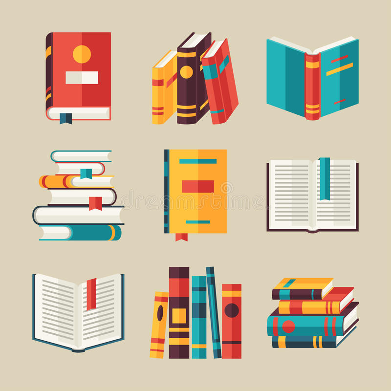 Set of book icons in flat design style royalty free stock image