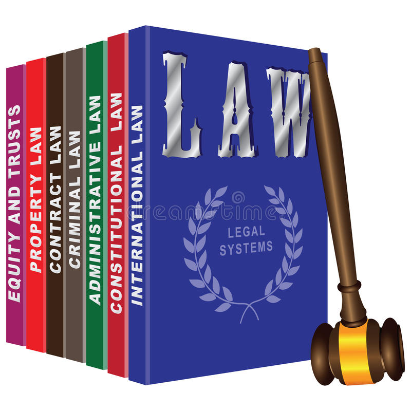 Set of books on law stock illustration