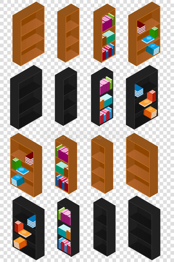 Set of Bookshelves with books in the isometric. Wooden Bookcases. For books. Black and brown colors. Stacks of books of different colors and sizes. Isolated on royalty free illustration
