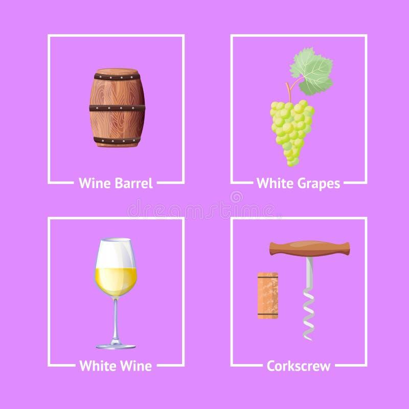 Set of Bordeaux Festival Icons Wine Wooden Barrel vector illustration