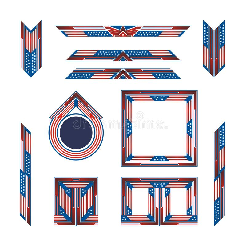 Set of Border and Frame with blue and red color stock photography
