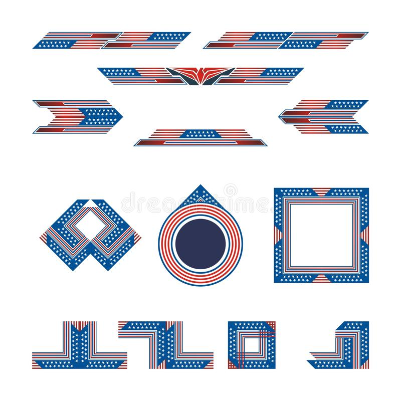 Set of Border and Frame with blue and red color stock photos