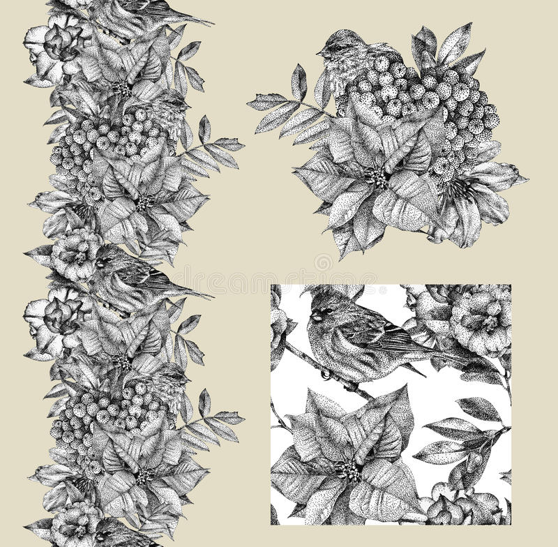 Download set of border pattern and illustration with different flowers stock illustration illustration