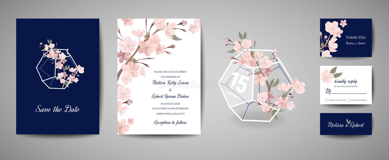 Botanical retro wedding invitation card, vintage Save the Date, template design of sakura flowers and leaves, cherry. Set of Botanical retro wedding invitation stock illustration