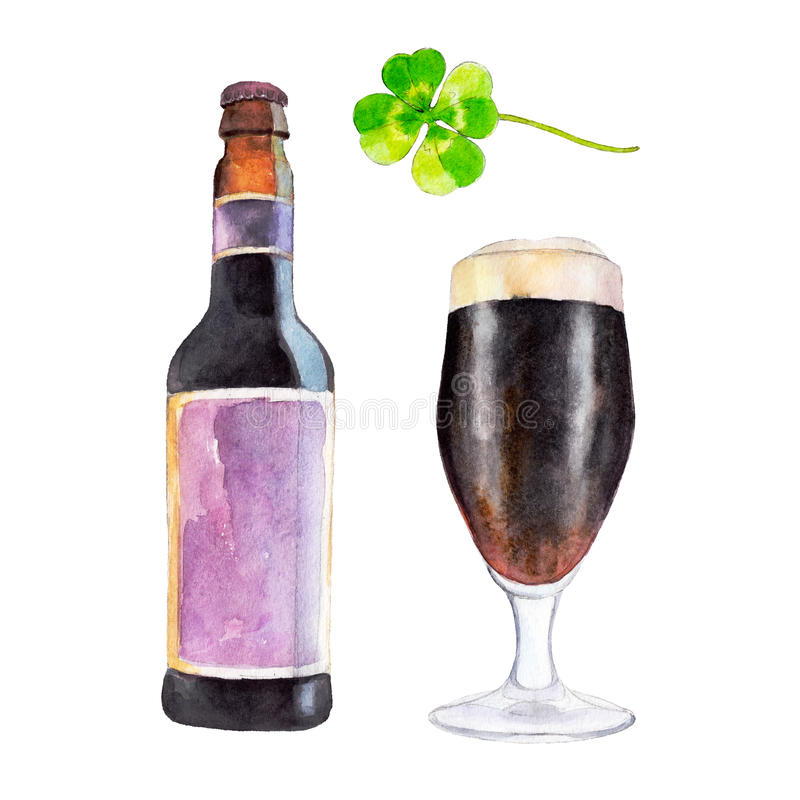 Set with bottle, glass of dark beer and the clover, watercolor illustration in hand-drawn style for St. Patrick`s Day. stock illustration