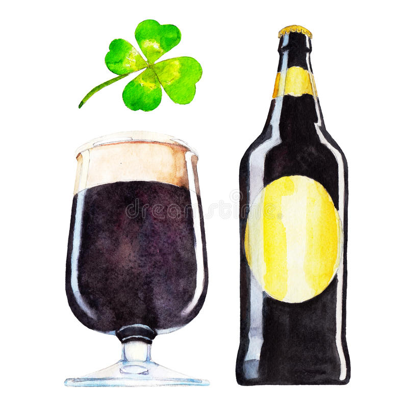 Set with bottle, glass of dark beer and the clover, watercolor illustration in hand-drawn style for St. Patrick`s Day vector illustration