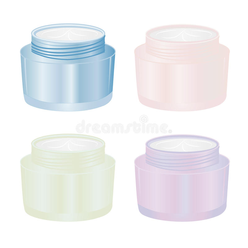 Set of bottles with creme. On a white background vector illustration