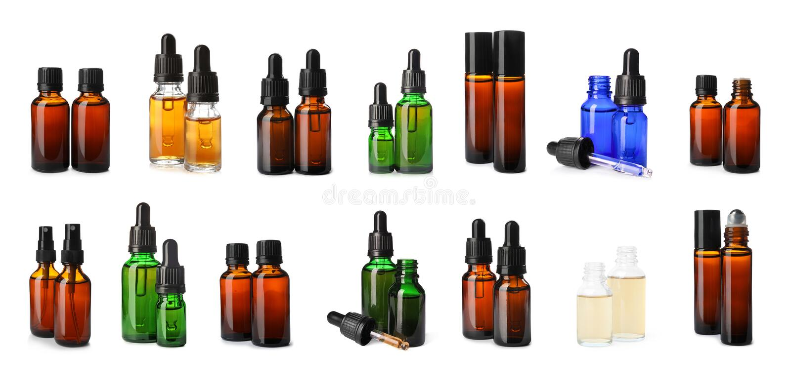 Set with bottles of different essential oils on background. Banner design stock images