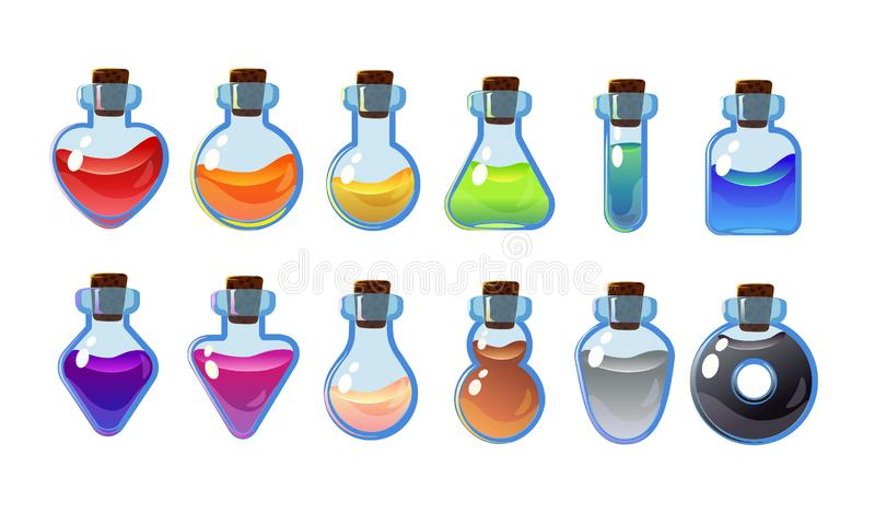 Set bottles with different potions. Game interface vector illustration