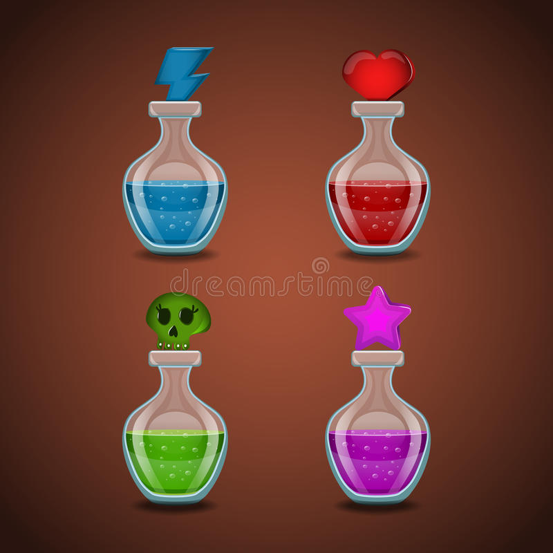 Set bottles with different potions vector illustration