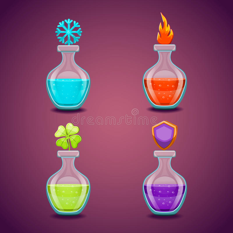Set bottles with different potions-3 stock illustration