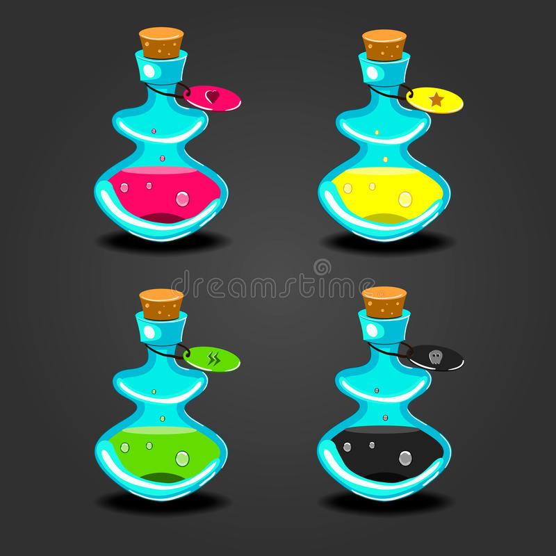 Set bottles with different potions royalty free illustration