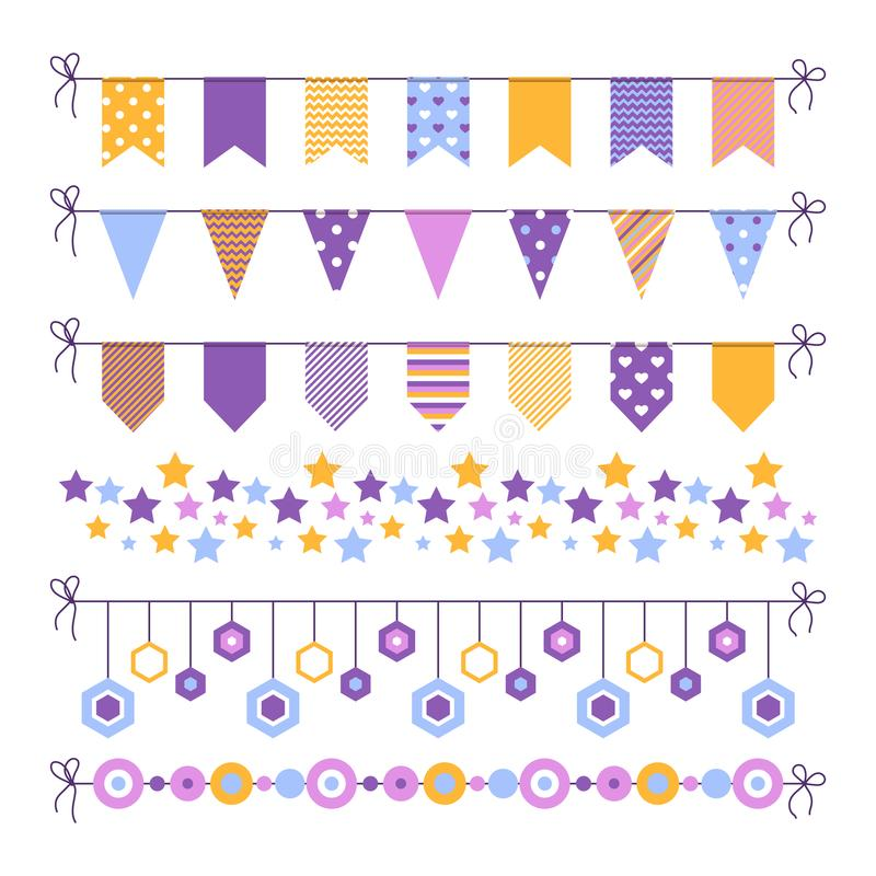 Set of bounting flags, stars and circles decorative elements on white background. Collection for birthday greeting cards stock illustration