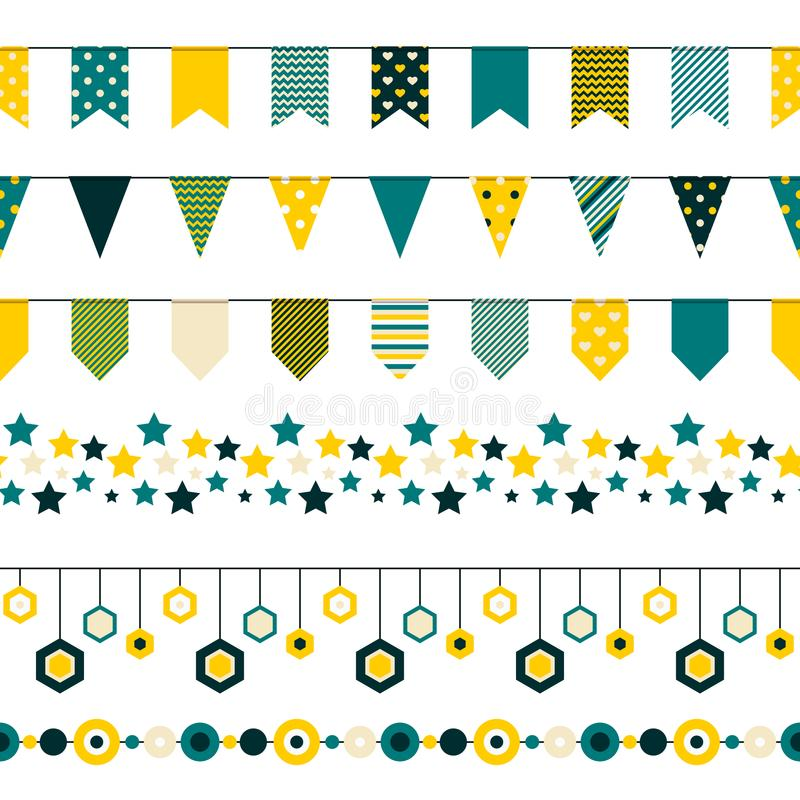 Set of bounting flags, stars and circles decorative elements on white background. Collection for birthday greeting cards. And scrapbooking. Vector illustration royalty free illustration