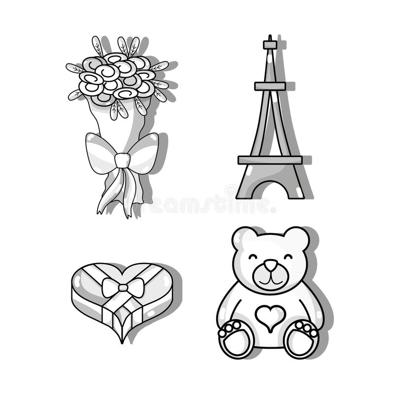 Set bouquet flowers and eiffel tower. Vector illustration royalty free illustration