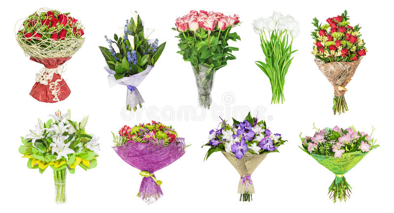 The set of bouquets of flowers, tulips stock photography