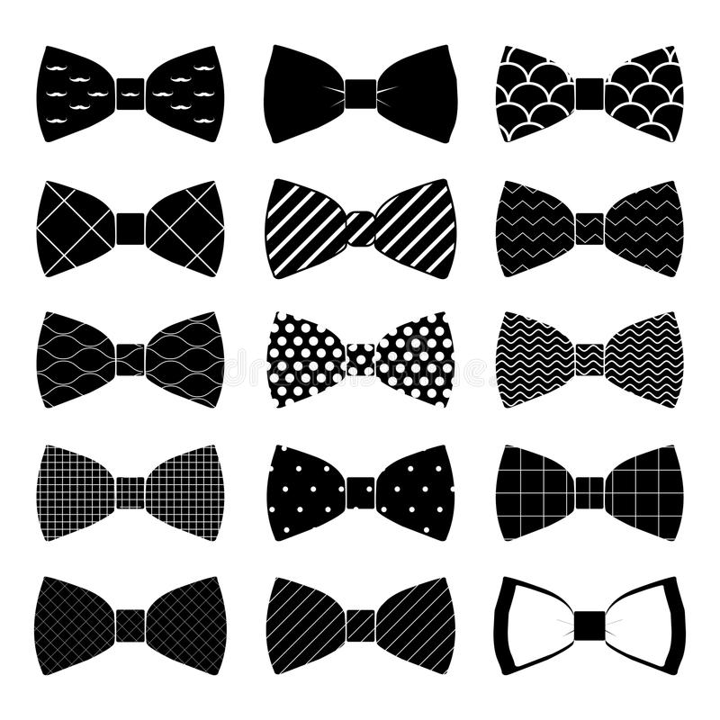 Set of bow tie in on white background royalty free illustration