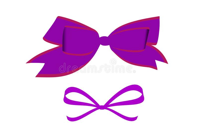 Set of bow ties on white background. Fashion, accessories, silk, purple, concept, modern, piece, object, collection, new, creative, shape, element, carnival stock illustration