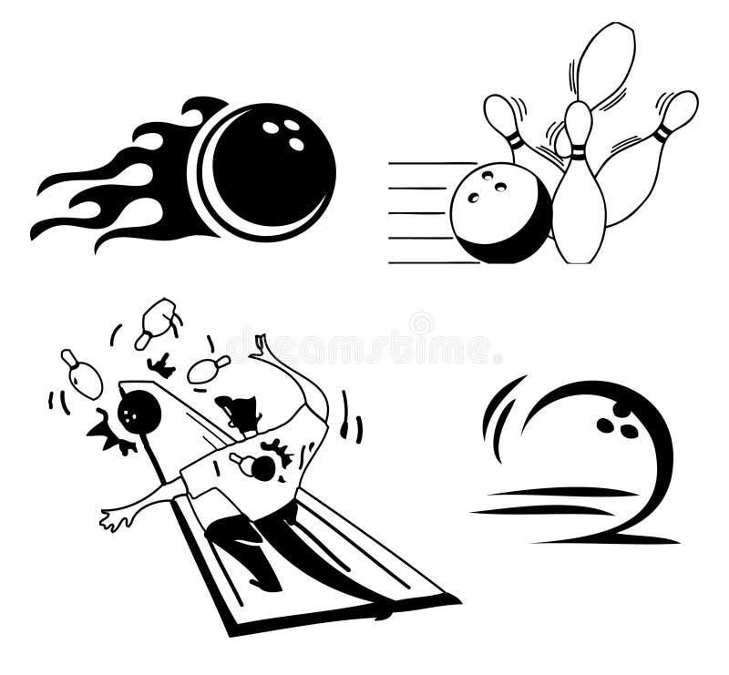 Set of bowling icons stock illustration