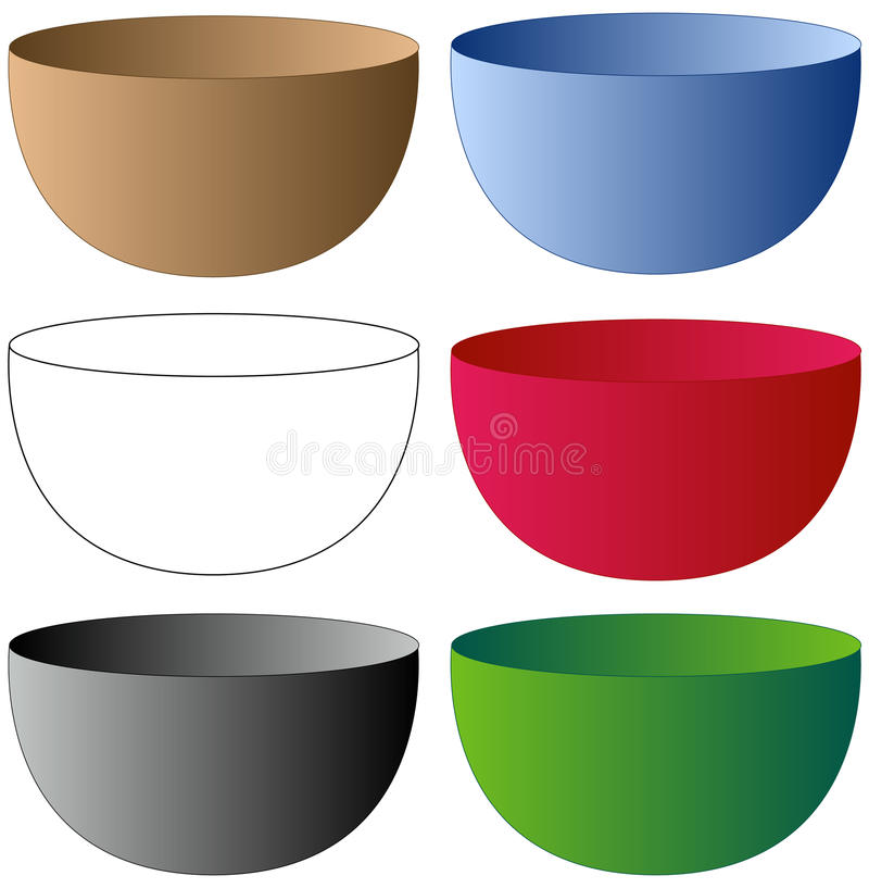 Set of Bowls. In various Colors royalty free illustration